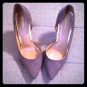 Merona Grey Heels- Suede & Gold Accents.